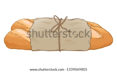 Fresh baguette wrapped in paper hand drawn, vector illustration isolated on white background #1339069805