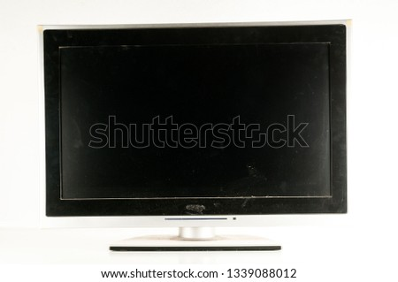 Black LCD tv slim screen monitor on white background #1339088012