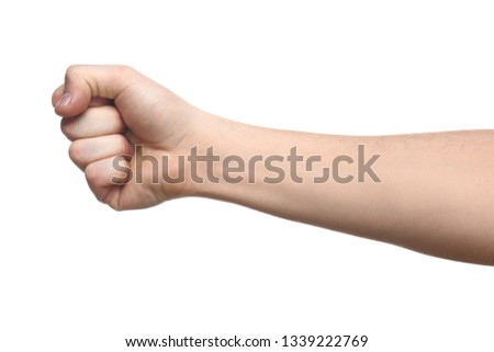 Clenched male fist on white background #1339222769