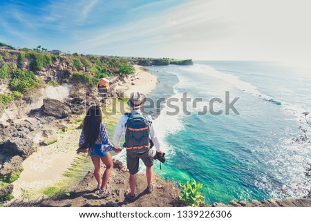 Bali seascape with huge waves at beautiful hidden white sand beach. Bali sea beach nature, outdoor Indonesia. Bali island landscape. Summer holidays at ocean beach. Travel vacation in Indonesia beach #1339226306