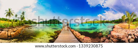 Bali seascape with huge waves at beautiful hidden white sand beach. Bali sea beach nature, outdoor Indonesia. Bali island landscape. Summer holidays at ocean beach. Travel vacation in Indonesia beach #1339230875
