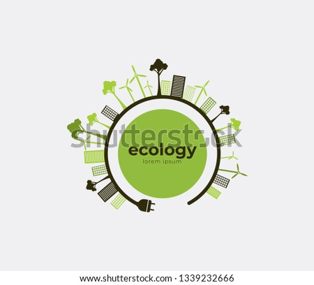 Ecology theme Earth Day flyer template Bright green trees and buildings concept. Poster, card, label, banner design. Bright and stylish geometrical background. #1339232666