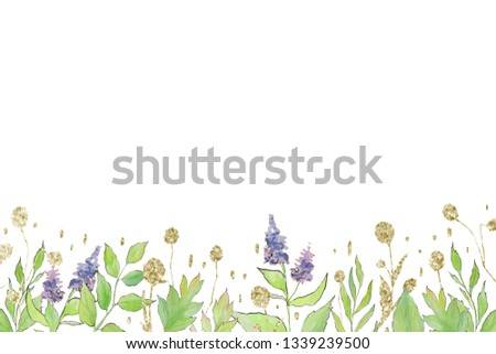 Colorful spring watercolor flower edges with bright flowers and glitter decor on the white isolated background. Floristic frame decor.