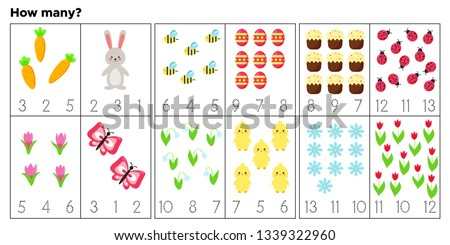 Cards for teaching preschool children. Count and write how many items. Vector Easter characters. Educational game. Cute Easter rabbit, chick, eggs, flowers and insects. #1339322960