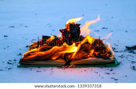 burning book in the snow. pages with the text in the open book burn with a bright flame. #1339337318