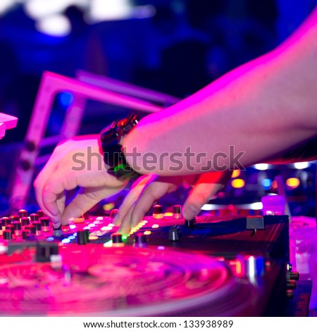 Dj mixing in nightclub at party. #133938989