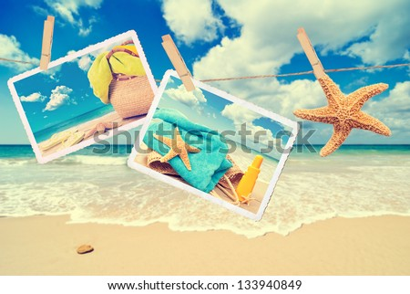Summer holiday items against a beach scene with vintage effect