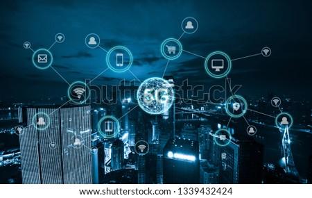 Wireless communication network concept.Panorama of Modern City #1339432424