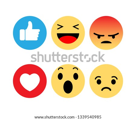 Abstract funny flat style emoji emoticon reactions color icon set