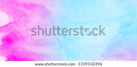 Grungy ink colors wet effect canvas aquarelle background. Fantasy smooth pastel light pink, purple and blue shades watercolor paper textured illustration for creative design, vintage card, templates #1339550396