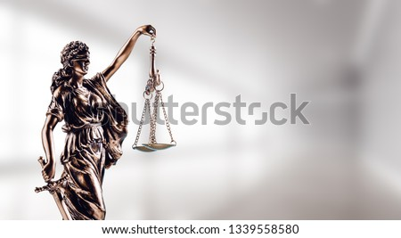 Symbol of law, Themis in modern hall. Justice and law in business. Legal system. #1339558580