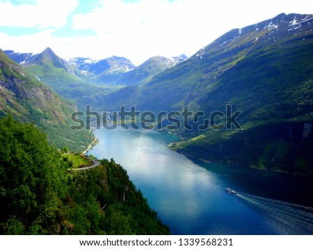 Norway,  June 23, 2013, view of the river in fjords. #1339568231