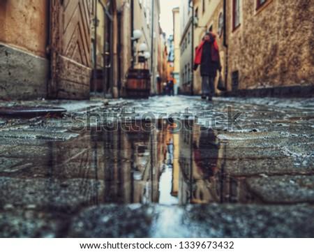 puddle on street  #1339673432