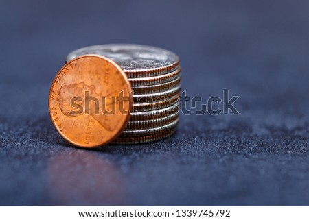 Pile of Golden coin, silver coin, copper coin, quarters, nickels, dimes, pennies, fifty cent piece and dollar coins. Various USA coins, American coins for business, money, financial coins and economy #1339745792