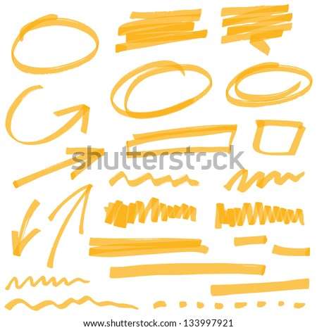 vector highlighter elements VOL 2 - color can be changed by one click Royalty-Free Stock Photo #133997921