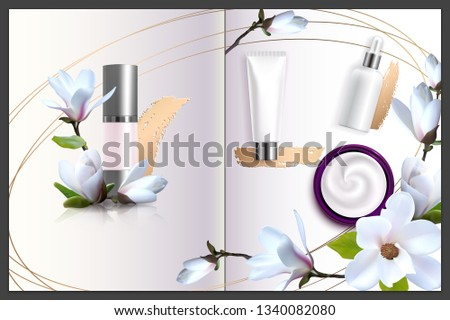 Advertising poster for cosmetic product with magnolia for catalog, magazine.Design of cosmetic package. Perfume advertising poster.Moisturizing toner, cream, gel, body lotion.Spring collection #1340082080