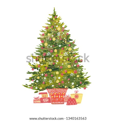 Watercolor Christmas tree.  New Year  illustration on white background