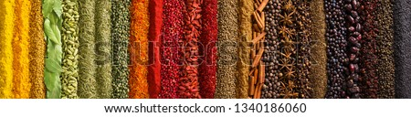 Indian spices and herbs as background. Seasonings texture for website header. #1340186060