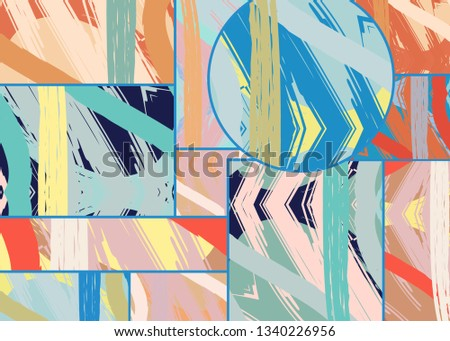 Abstract collage asymmetric pattern. Digital freehand art, grunge texture. Vector patchwork quilt background. Decorative elements, brush strokes ornament for flyer, poster, cover, textile fabric print #1340226956