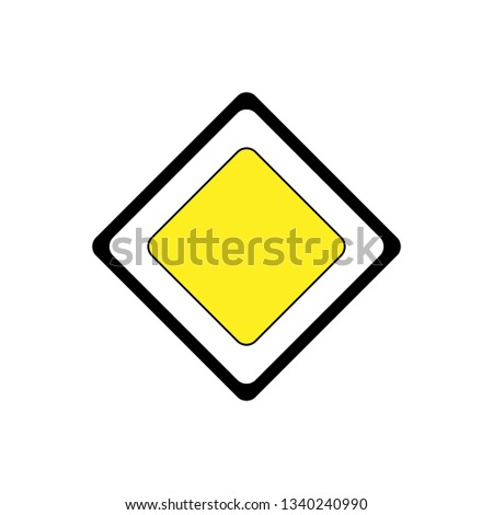 Main road sign vector illustration isolated on white. Sign of main road. #1340240990