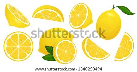 Lemon slices. Fresh citrus, half sliced lemons and chopped lemon. Cut lemons fruit slice and zest for lemonade juice or vitamin c logo. Isolated cartoon vector illustration icons set #1340250494