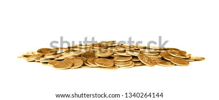 Pile of shiny coins on white background #1340264144