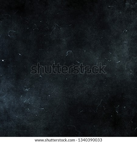 Dark blue grunge scratched horror background, old film effect, distressed scary texture  #1340390033