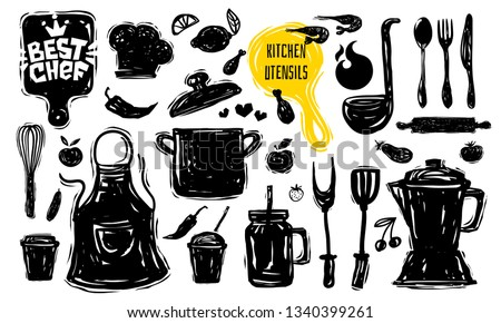 Best chef culinary school logo design label sticker poster banner. Kitchen utensils food elements. Soup pot knife fork spoon plate pan Hand drawn vector design illustration. Royalty-Free Stock Photo #1340399261