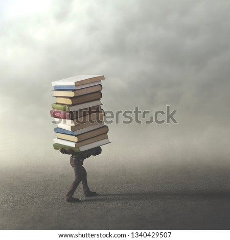man carrying heavy books on his showlder, difficult wisdom way , surreal concept #1340429507
