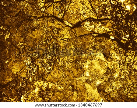 Yellow space. Gold Backgrounds. Abstract texture. Gold texture. Gold texture. Rough structure mineral. Rock texture. Gold Ore. Rock backgrounds. Stone background. Foil #1340467697