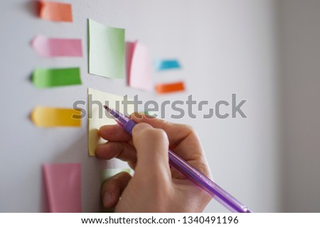 Kanban board is an agile working method. There is a sample Task  note for tracking purposes in the middle. Scrum, Teamwork, Agility, Working, Adhesive Note, To Do List #1340491196
