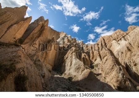 Clay cliffs near Omarama, South Island of New Zealand #1340500850