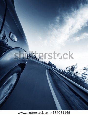 car on the road with motion blur background #134061146