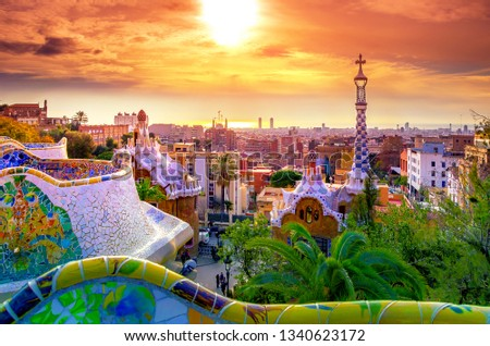 View of the city from Park Guell in Barcelona, Spain #1340623172