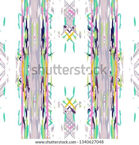 Ikat batik print modern style, shibori fabric design. Tribal embroidery ethnic seamless pattern. Vintage endless repeat ornament. Traditional folk ikat texture. Vector watercolor geometric background. #1340627048