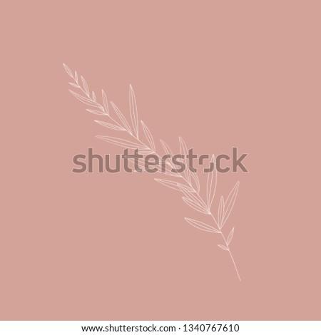 Floral doodle. Retro illustration. Botanical icon. #1340767610
