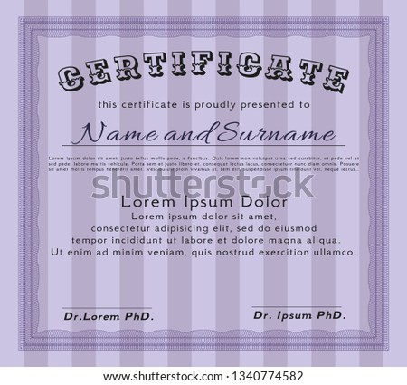 Violet Certificate diploma or award template. With complex background. Artistry design. Vector illustration.  #1340774582