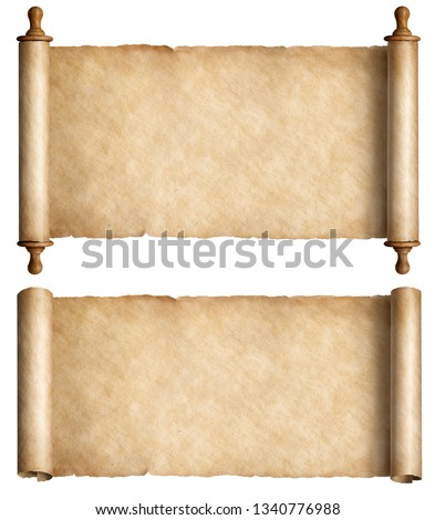 Vintage paper scrolls set isolated on white #1340776988