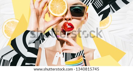 composition of women  in sunglasses with lollipop and lemon on striped background #1340815745