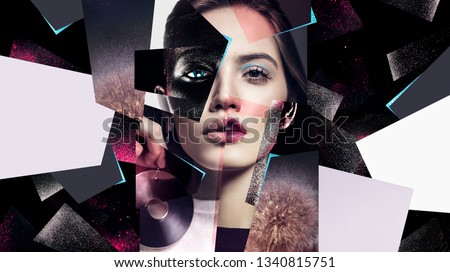 Idea, fashion, make up. Composition of women portraits with earrings and black body art Royalty-Free Stock Photo #1340815751