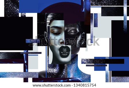 Body art, make up, concept. Composition of women portraits with black and blue body art #1340815754