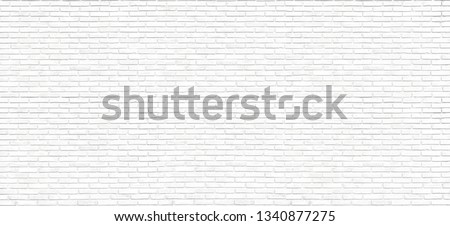 The Beautiful Large Surface of White Brick Wall Texture or Soft Color Brick Wall as Background #1340877275