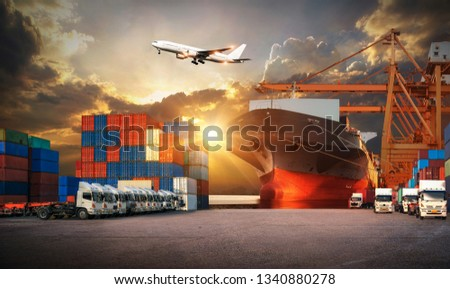 Industrial Container Cargo freight ship, forklift handling container box loading for logistic import export and transport industry concept backgroundtransport industry background #1340880278