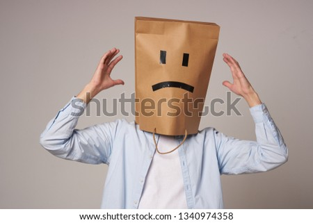mood man with a package on his head                               #1340974358