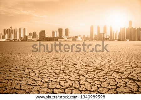 Post-apocalyptic landscape. City after the effects of global warming. Climate changes concept. #1340989598