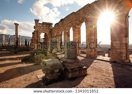 Volubilis near Meknes in Morocco. Volubilis is a ruined Amazigh, then Roman city in Morocco near Meknes, UNESCO World Heritage Site. #1341011852