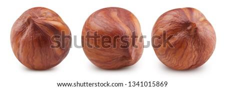 Hazelnut isolated on white background. Hazelnut Clipping Path Professional studio macro shooting #1341015869