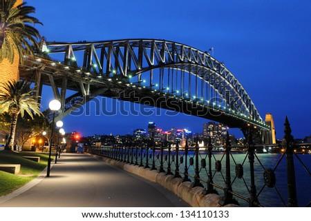 Sydney Harbour Bridge, Sydney, Australia at night Royalty-Free Stock Photo #134110133