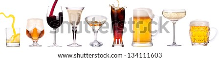 different images of alcohol isolated - beer,martini,champagne,cola,wine,juice #134111603