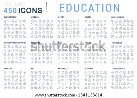 Collection of vector line icons of education. Natural and mathematical science, additional education, tutorship, freelance. Set of flat signs and symbols for web and apps. #1341138614